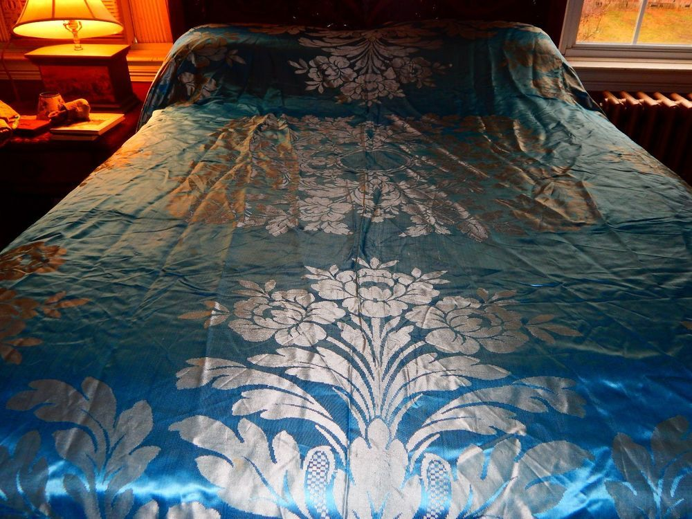 Antique Italian Silk Bedspread Blue Chenille Fringe Damasco A Mano San Leucio Coverlets Antiques Damask