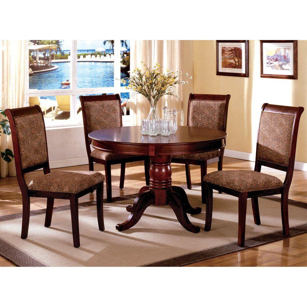 Furniture Of America Ravena Antique Cherry 5 Piece Round Dining Set