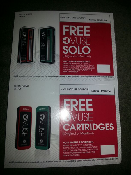FREE VUSE SOLO E-CIG COUPON PLUS COUPON FOR FREE CARTRIDGES
