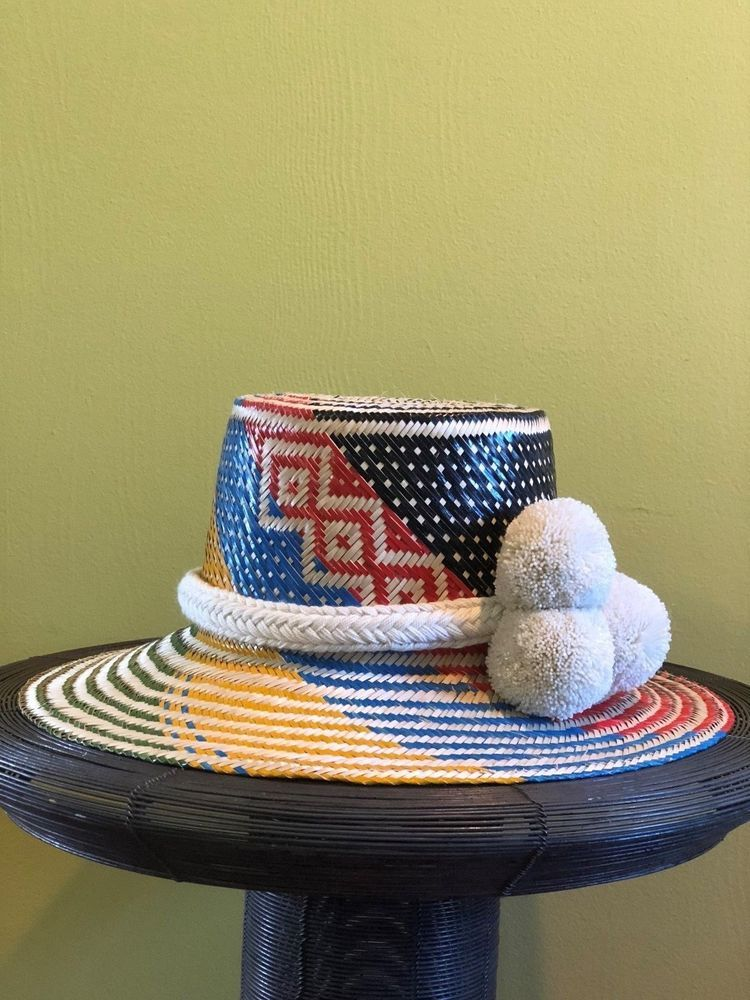56d4a9ba MULTICOLOUR Wayuu Hat Woven Straw HandCrafted Stylish Pom pom Panama Hat  Sun M #fashion #clothing #shoes #accessories #womensaccessories #hats