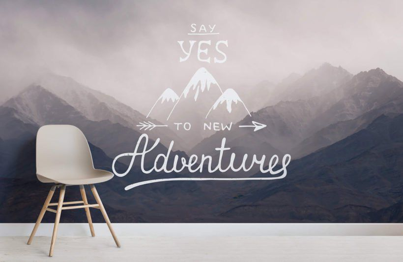 say yes inspirational quote wallpaper mural hacks\u0026ideas wallsay yes quote wall mural room