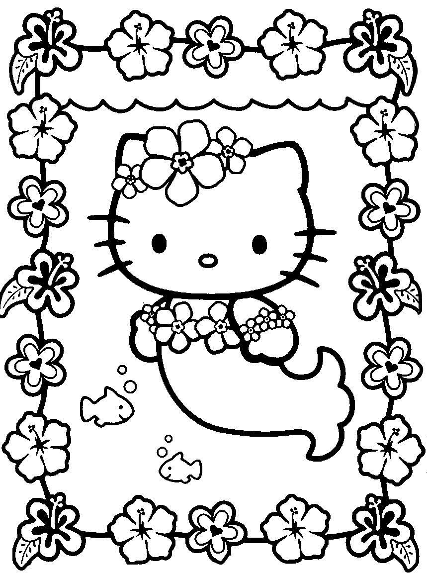 Ausmalbilder Hello Kitty Zum Ausdrucken : Free Kids Coloring Pages For Girls Coloring Pages Pinterest