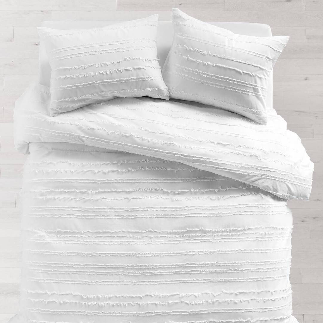 White Eyelash Stripe Duvet Cover And Sham Set Dorm Comforters White Comforter Bedroom Dorm Room Bedding