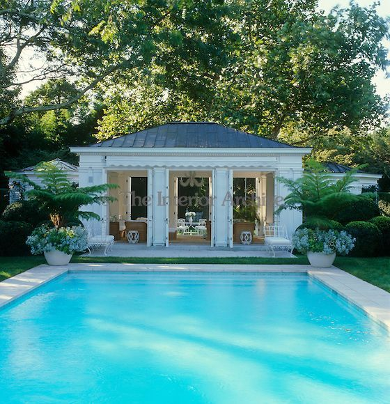 1960s pool awnings | The pool house has a retractable awning ...