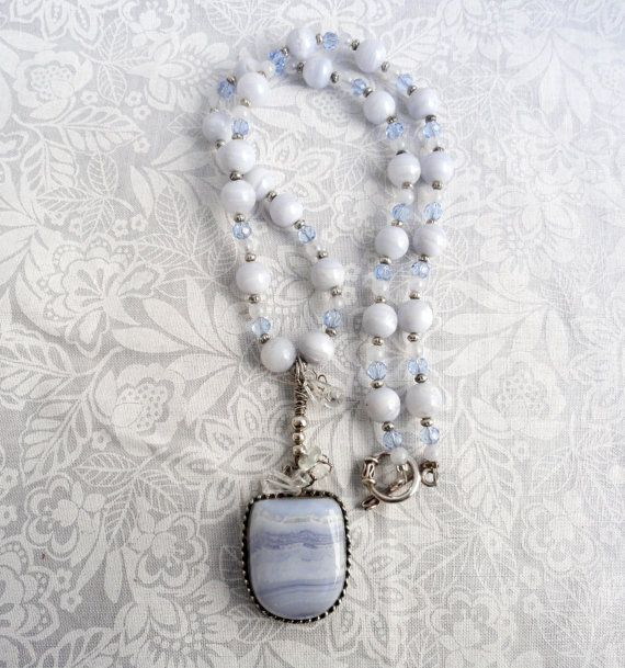 Frosty Winter Dreams - Blue Lace Agate Rainbow Moonstone And Quartz Necklace