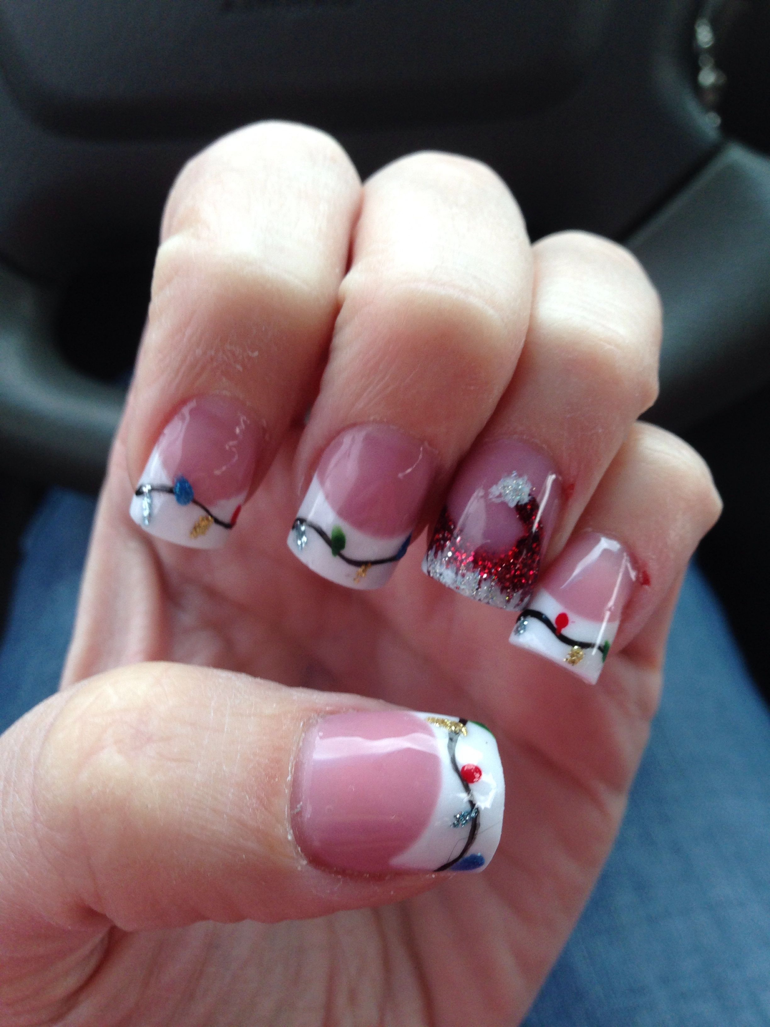 Christmas Lights With A Santa Hat Love Christmas Nails Christmas Nails Acrylic Nail Designs Winter Acrylics Christmas Nails