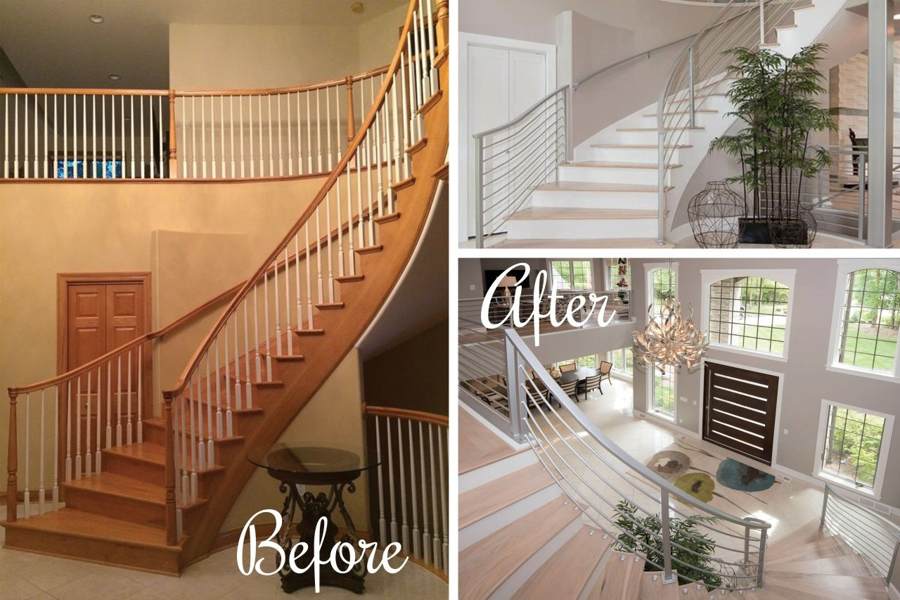Average Cost to Replace Stair Railing in 2020   Hardwood ...