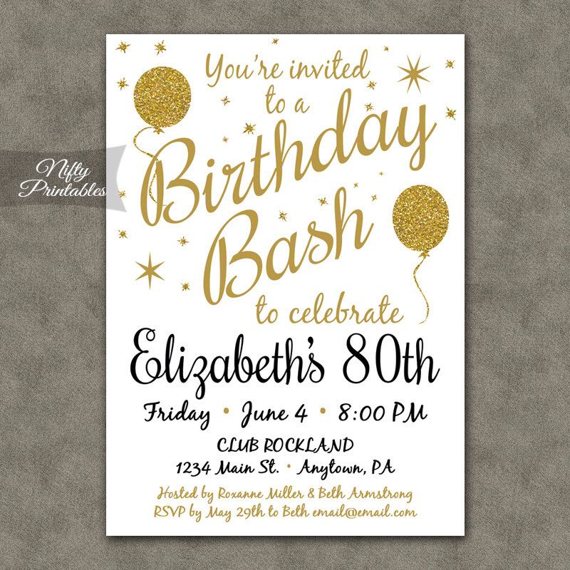 50th Birthday Invitations Invites Fifty 70th Parties Gold