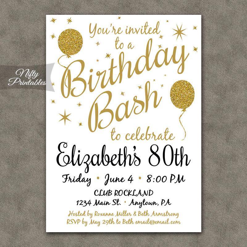 Printable 80th birthday party invitations vaydileforic printable 80th birthday party invitations filmwisefo