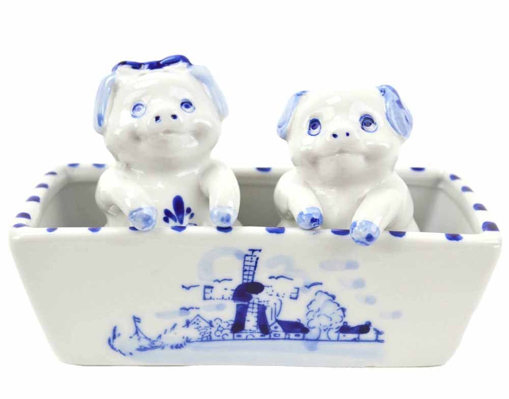 Delft Blue Salt and Pepper Shakers: Pigs