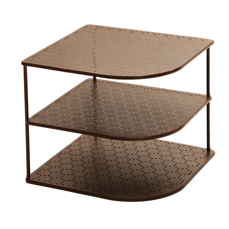 Amazon Com Seville Classics 3 Tier Corner Shelf Counter Cabinet Organizer Bronze Shelf Organization Corner Shelves Kitchen Countertop Organization