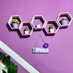 Hiasan Dinding Buatan Sendiri Dari Stik Es Krim Berbentuk Hexagonal Hasil  Kerajinan Tangan 506a4594c1