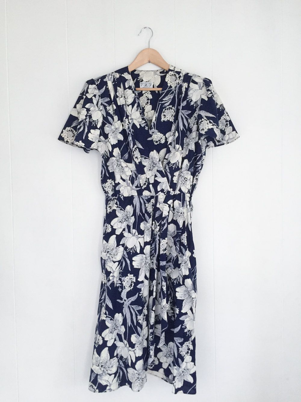 80s floral dress summer dress vintage short sleeve dress flower vintage dress floral dress boho dresses for women flower print dress cotton dress blue and white vintage clothing made usa izmirmasajfo