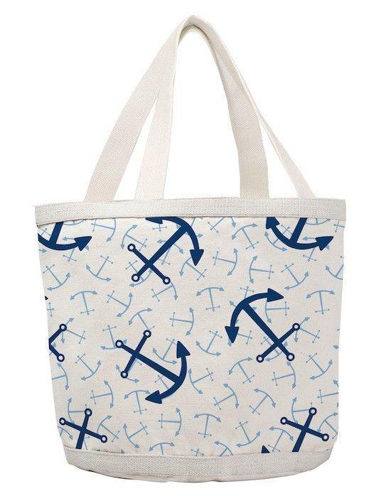 Large Happy Bottom Blue Anchor Bag | Coastal Style Gifts