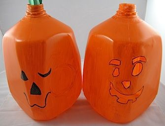 milk jug jack o lantern try with a glow stick instead of