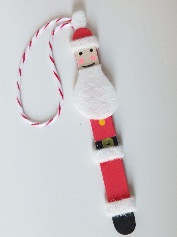 Decoration De Noel Petit Pere Noel Sur Un Baton Activite Manuelle Noel Primaire Bricolage Noel Facile Activite Manuelle Noel