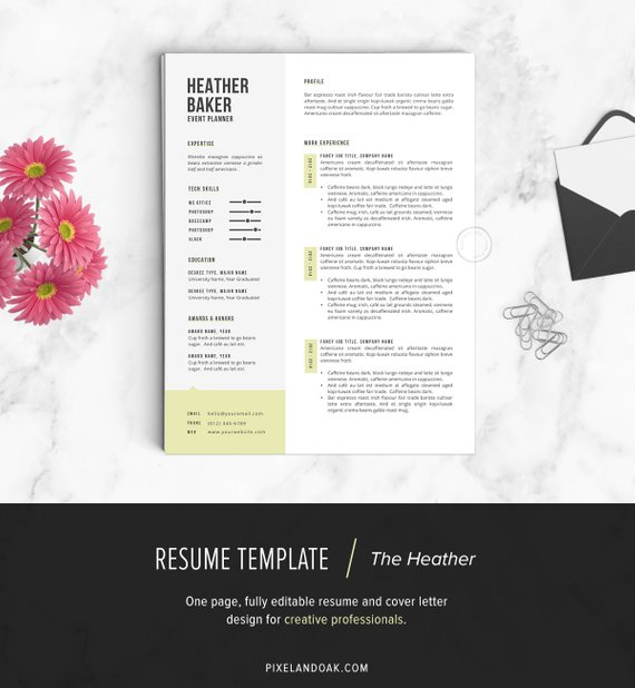 Resume Template, Resume Design, Cover Letter Template (Microsoft