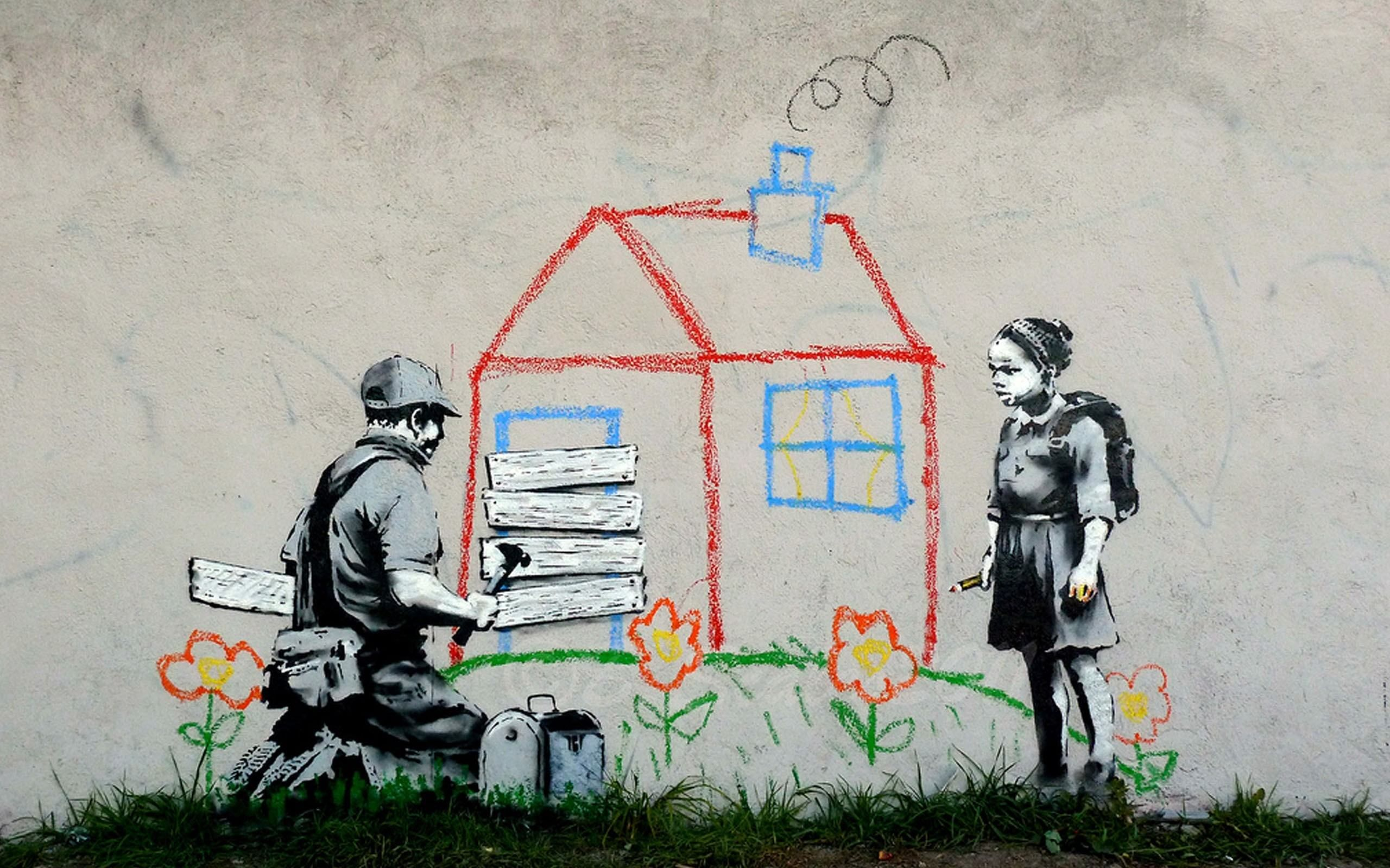Kids houses peace banksy digital art fresh wallpaper hd for Digital mural wallpaper