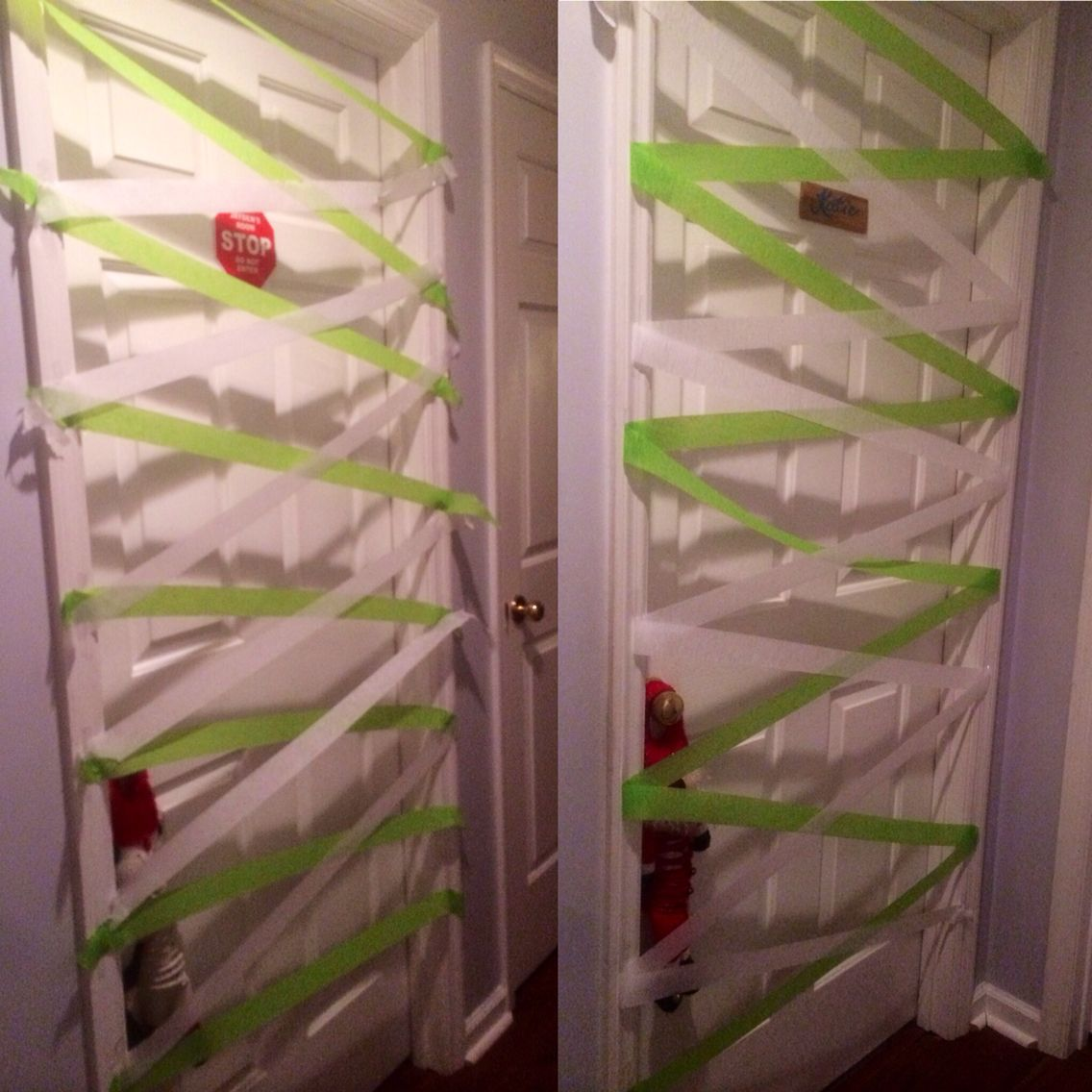 Romeo put crepe paper streamers over Katie and Jayden's doors while they were sleeping