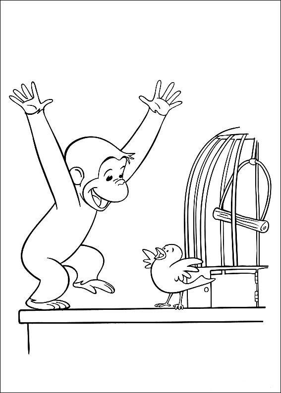 Coloriage dessins georges le petit curieux 14 papercutting pinterest singe dessin - Coloriage petit singe ...