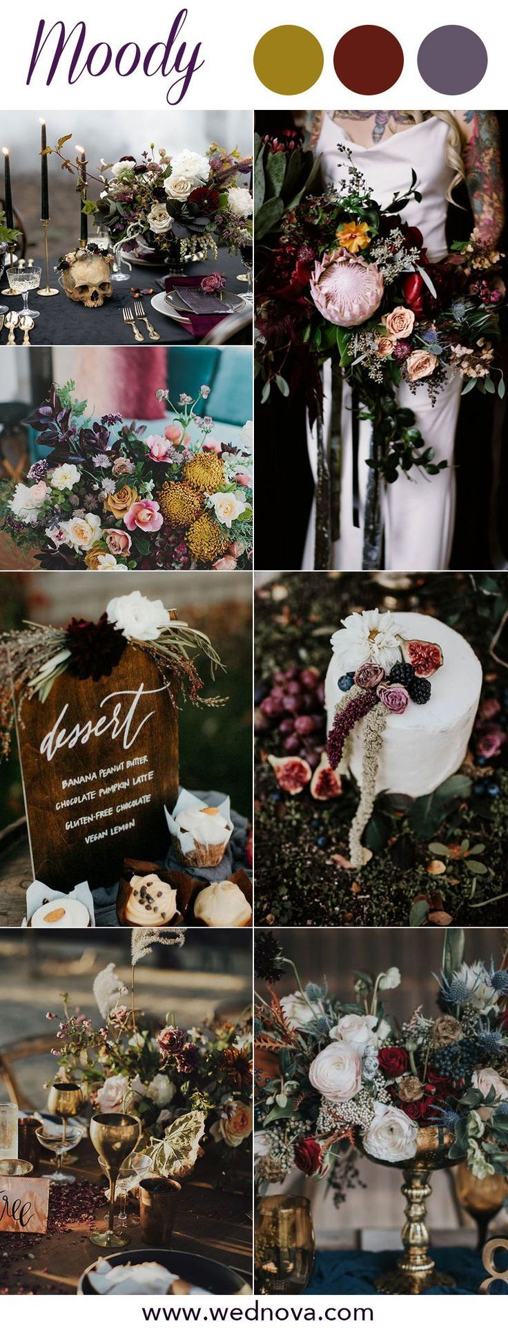 8 Chic Moody Wedding Color Palettes That Celebrate the