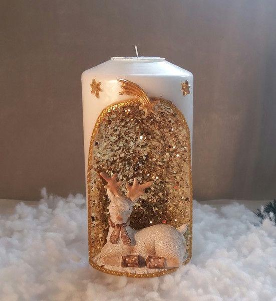 Kerzen Beleuchtung Weihnachtskerze Mit Reh Figur Winter Ein