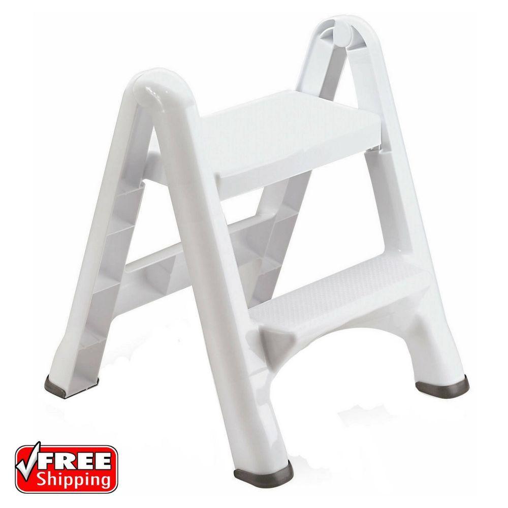 2 Tier Step Stool Plastic Folding Ladder Lightweight White