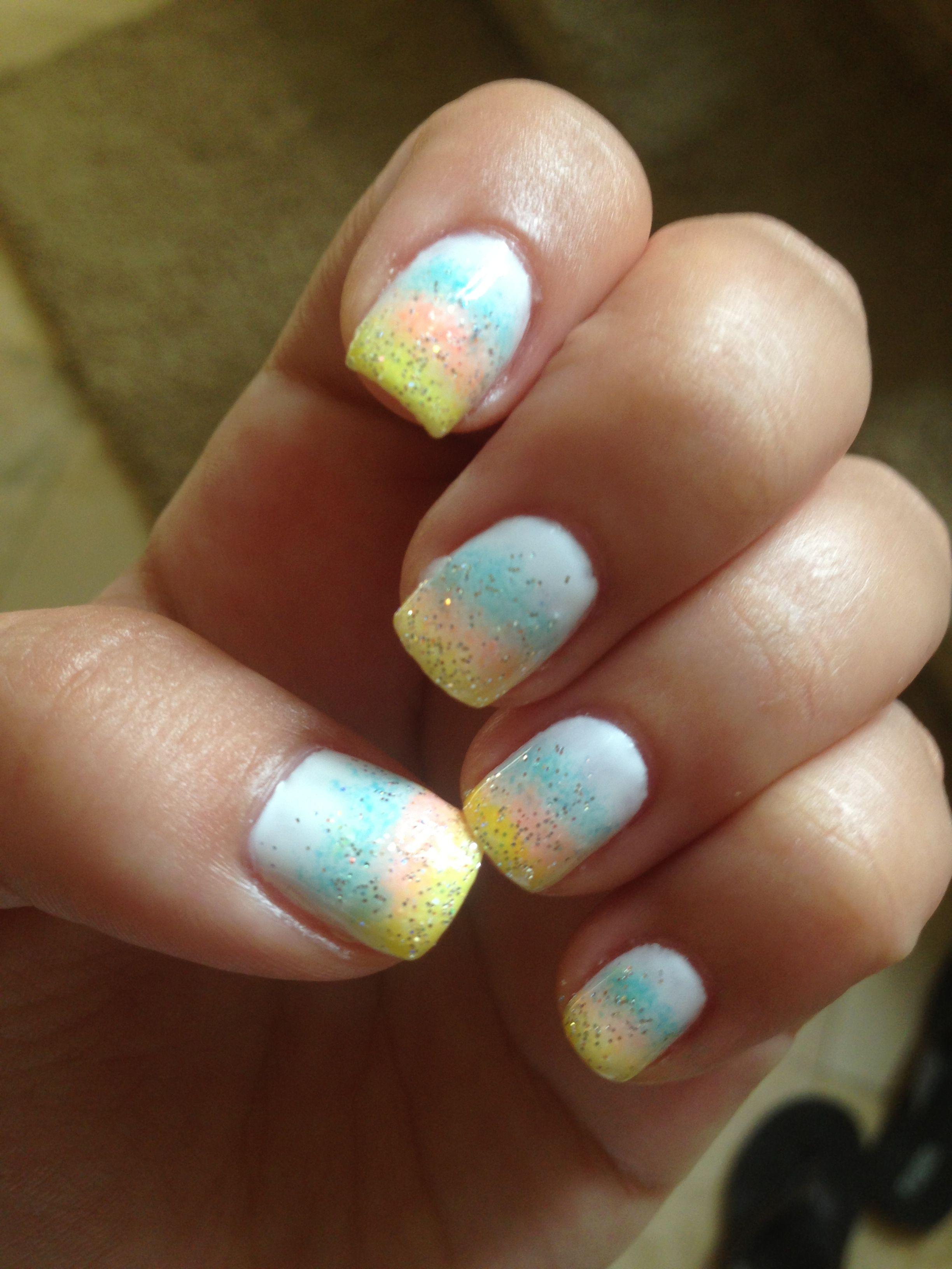3 color Faded gel nails | Gel nails | Pinterest