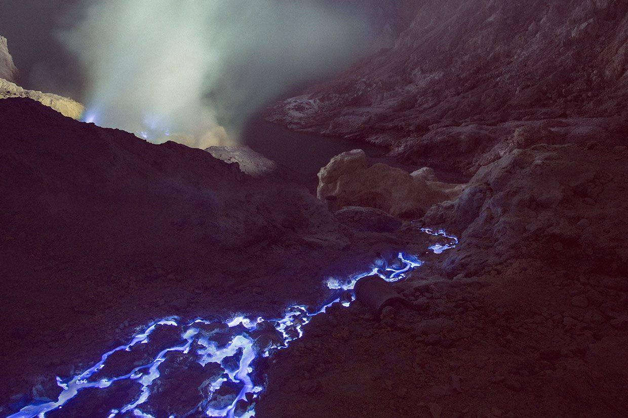 Blue Fire Crater: Rivers of Molten Sulphur Flowing Inside an Indonesian Volcano Photographed by Reuben Wu   Geology IN