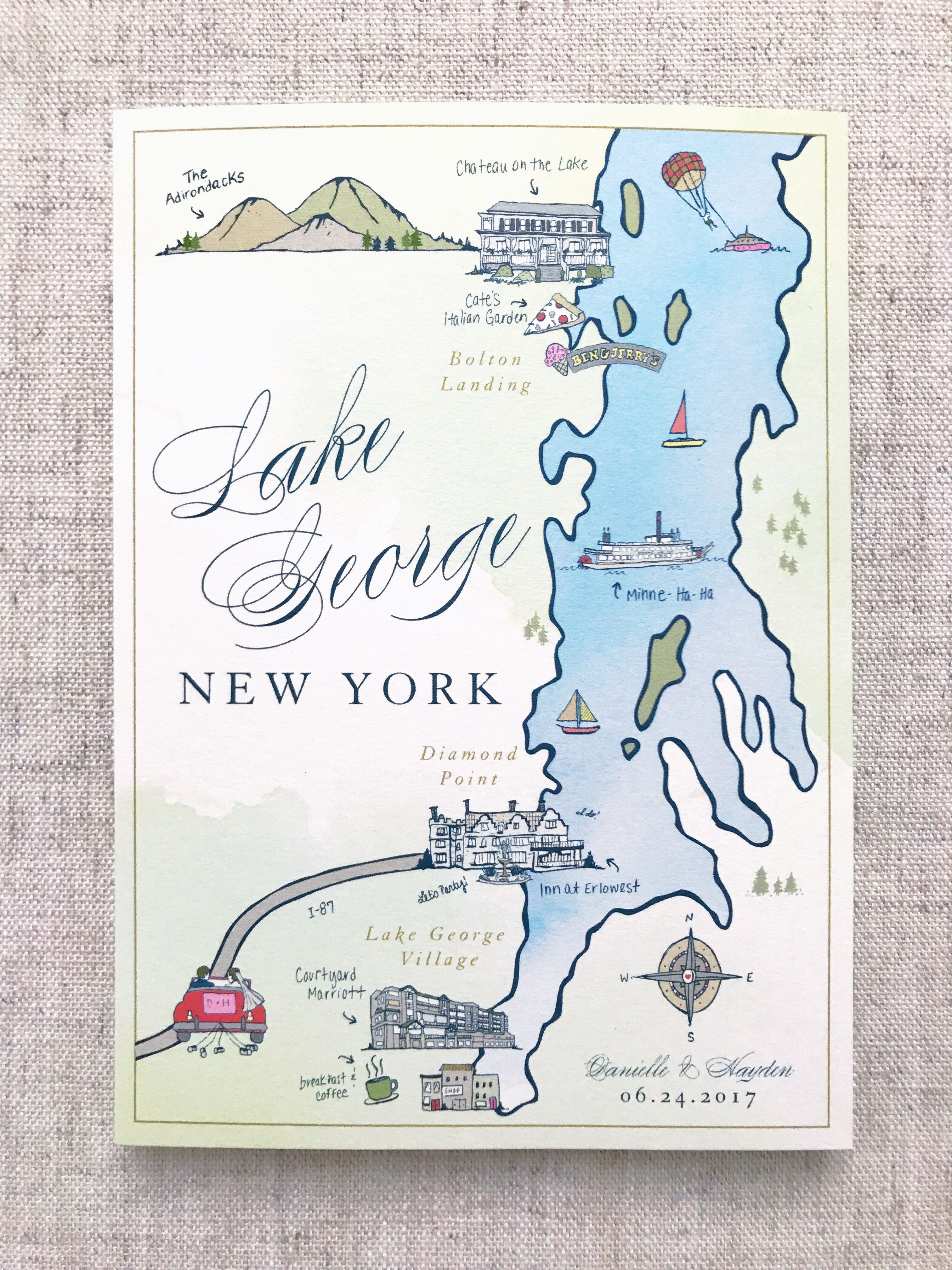 Custom Illustrated Map, Wedding Map, Illustration, Welcome Bag Ideas ...