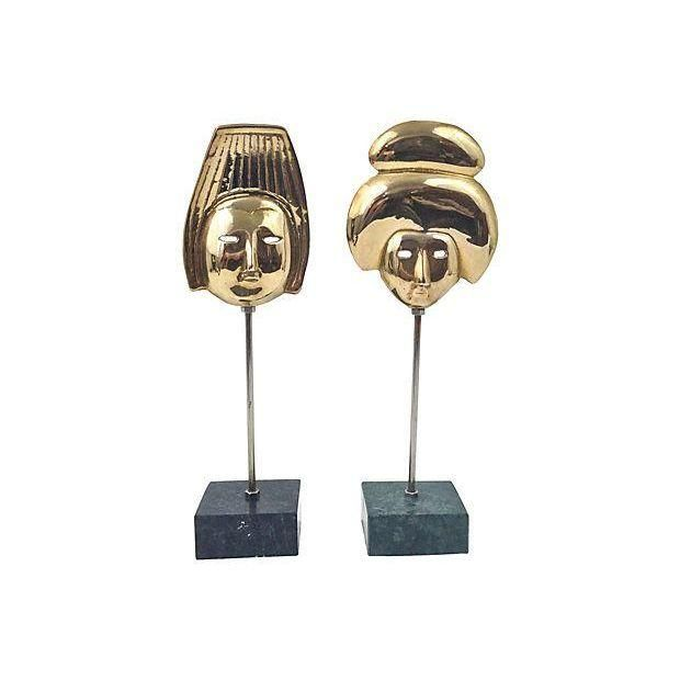 Image of Asian Brass Marble Based Masks - Pair