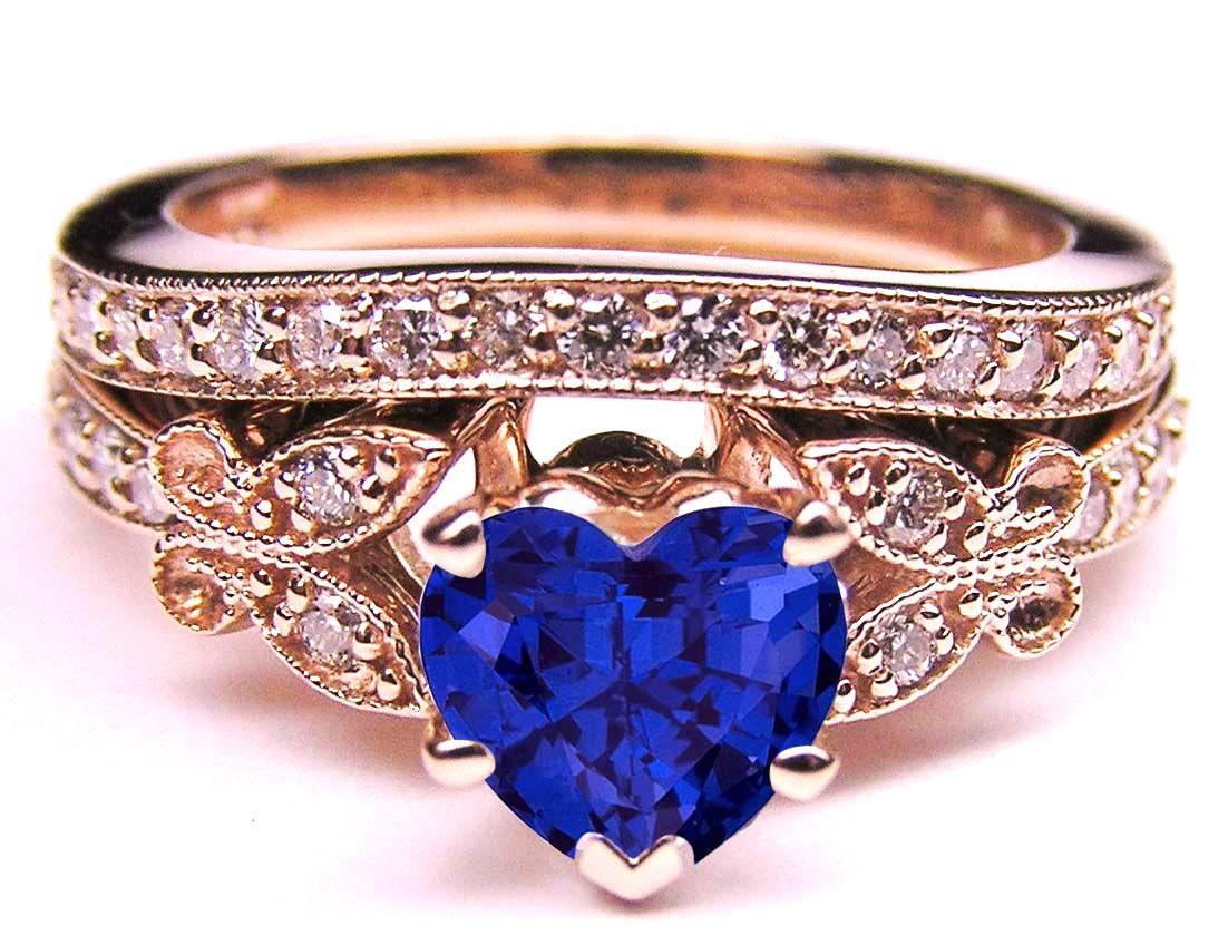 Blue Sapphire Heart Shape Diamond Butterfly Bridal Set in