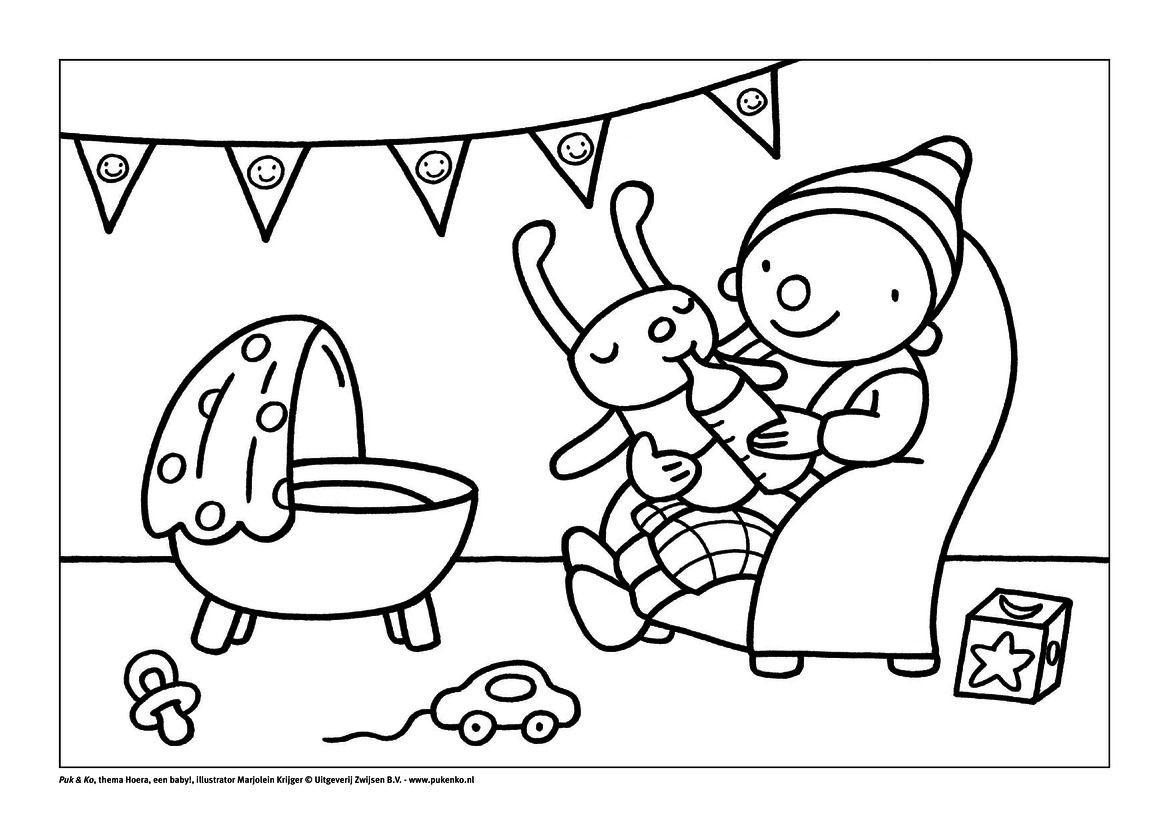 kleurplaat puk met baby knutselen thema baby