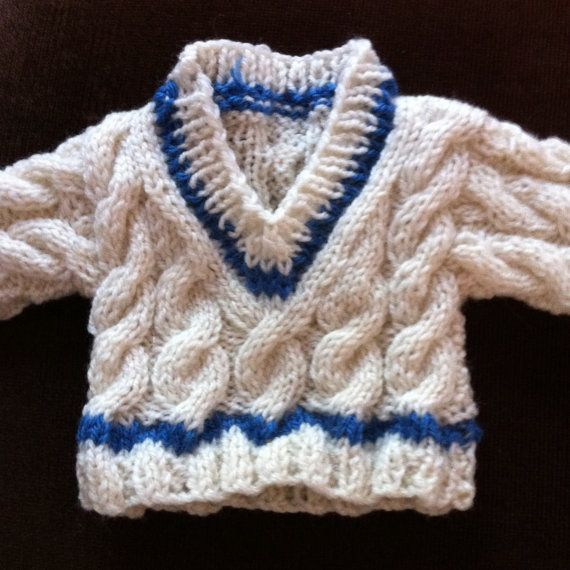 Hand Knitted Cabled Cricket Jumper To Fit Build A Bear