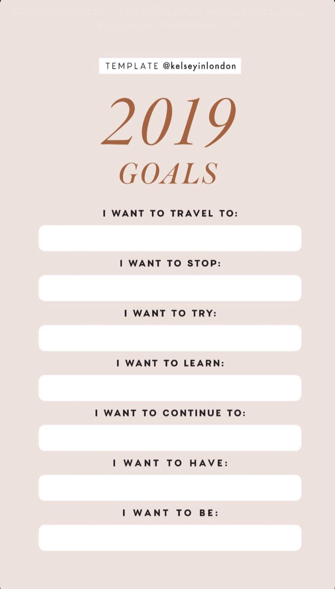 2019 Goals Instagram Story Template By Kelseyinlondon Instastory