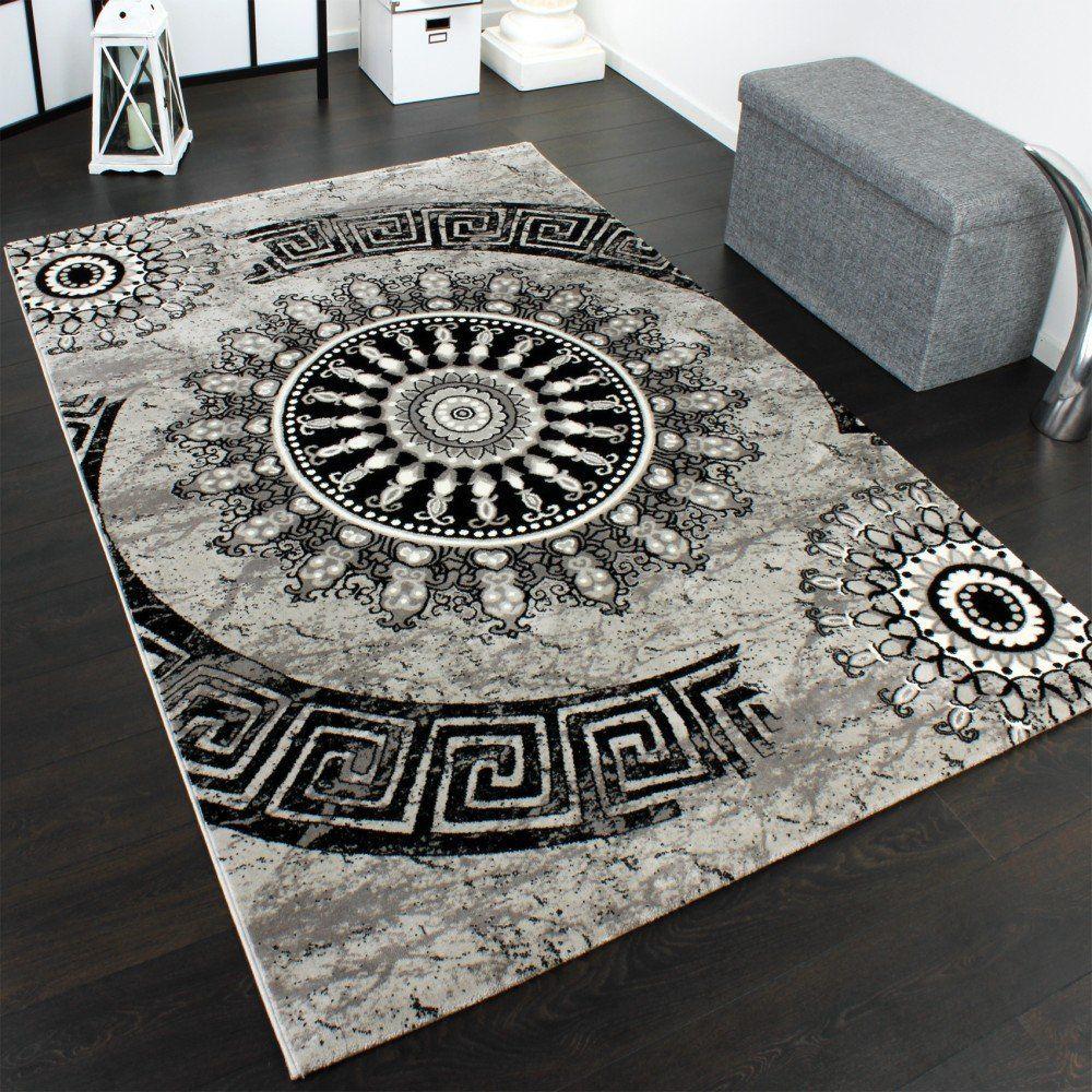 Tappeto classico lavorato cerchio ornamenti grigio nero for Ornamenti casa