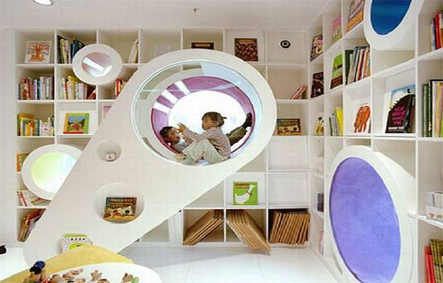 Superbe Interior:Awesome Creative And Fun Kids Playroom Design Ideas Big Bookcase  Small Lamp Modern Furniture Design Interior Design Ideas The Creative And  ...