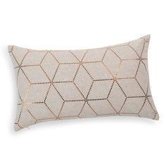 CHAMBRE X2 - Coussin en coton beige et cuivre [salon ou chambre]