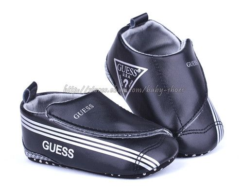 99f53389dc4 Baby Boy GUESS Black Soft Sole Crib Shoes Toddler Sneaker Size Newborn to  18 Months | eBay