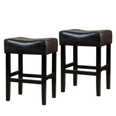 Noble House Portman 26 In Brown Backless Counter Stools Set Of 2 Counter Stools Home Bar Furniture Leather Counter Stools