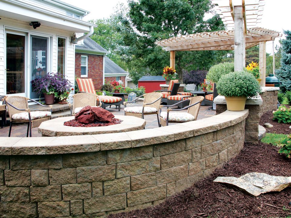 Patio and fire pit featuring Highland Stone® wall system ... on For Living Lawrence Fire Pit id=36139