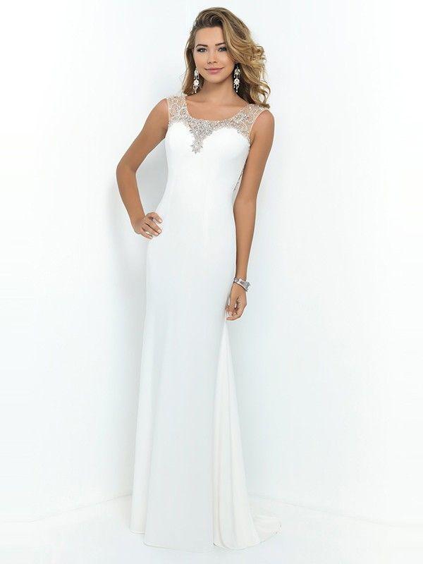 White column sheath rhinestone chiffon dress
