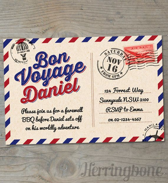 Bon voyage farewell printable invitation by herringbonedesign bon voyage farewell printable invitation by herringbonedesign 1500 stopboris Image collections