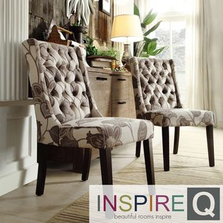 inspire q evelyn grey floral tufted back hostess chairs (set of 2
