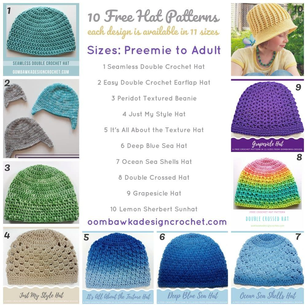 Top 10 Crochet Hat Patterns. Free. Size Preemie to Adult. | Needle ...