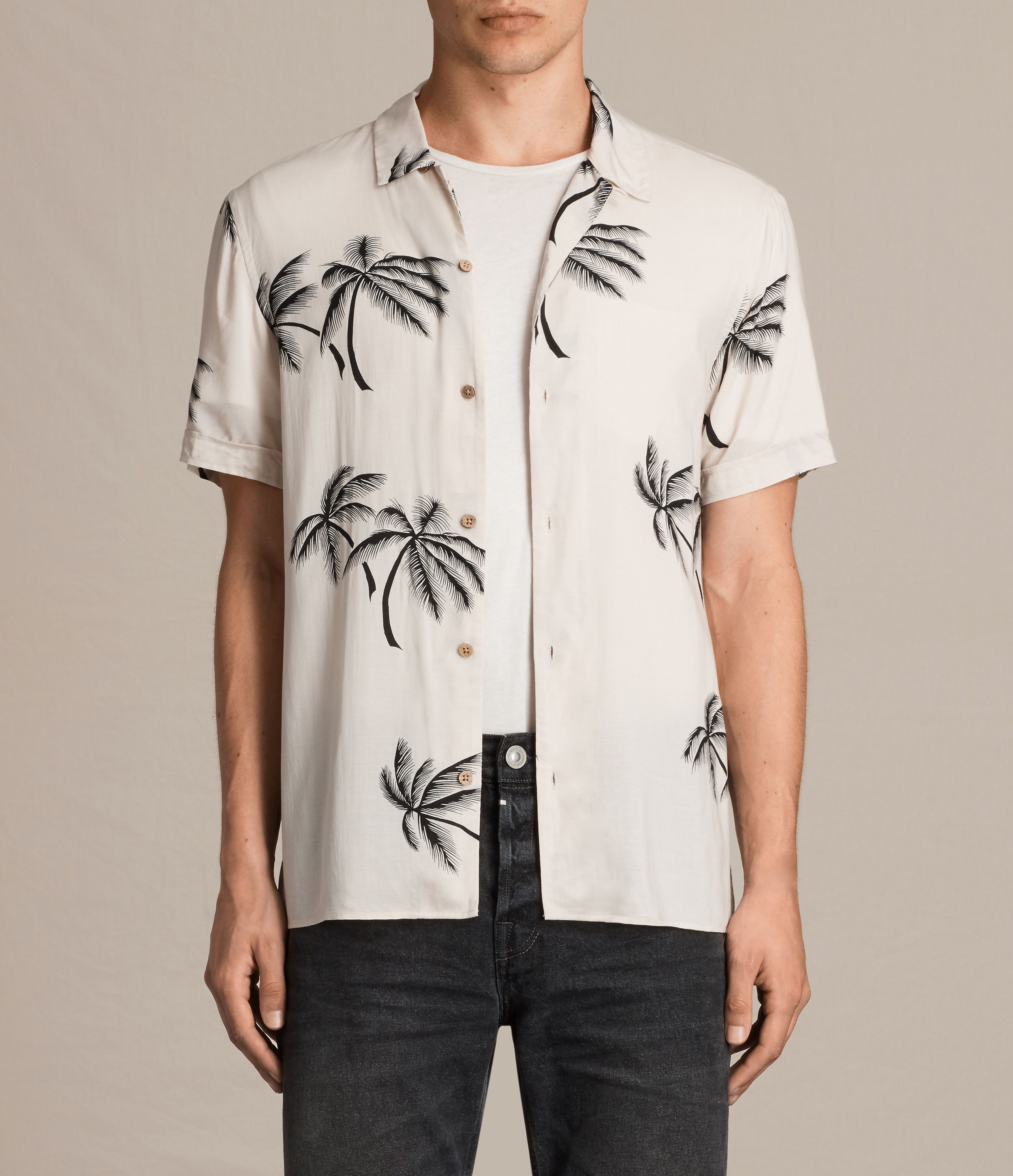 f7a68f00 AllSaints New Arrivals: Offshore Short Sleeve Shirt. The Offshore Shirt has  a statement monochrome palm tree print. Cut from a super lightweight fabric  with ...