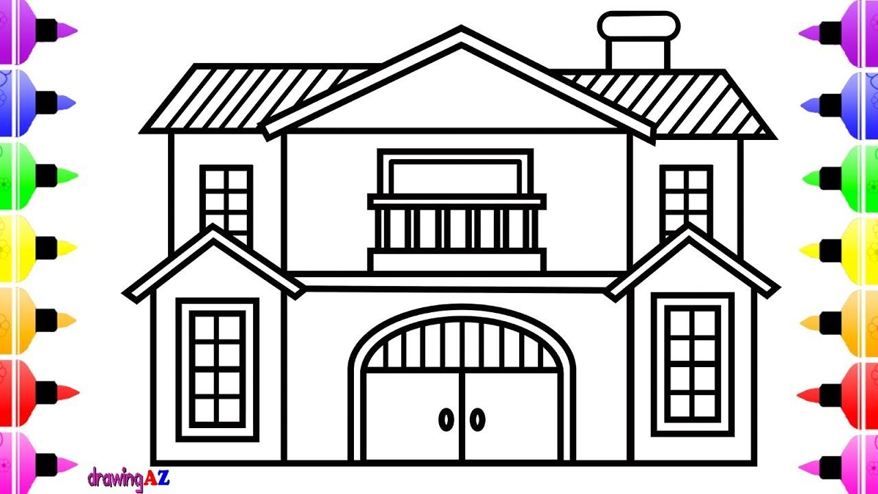How To Draw House Step By Step For Kids Cute Art Coloring Book For Chi House Drawing For Kids House Drawing Drawing For Kids