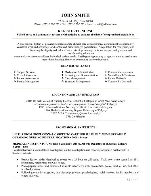 Sample Nursing Resume RN Resume – Nurses Resume Examples