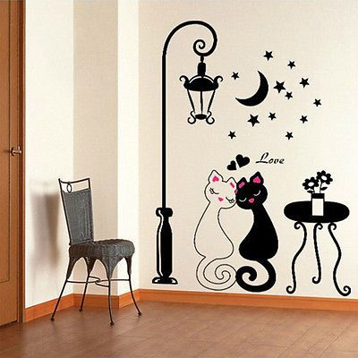 Diy Cute Black Couple Cat Wall Decal Stickers Home Decor Living