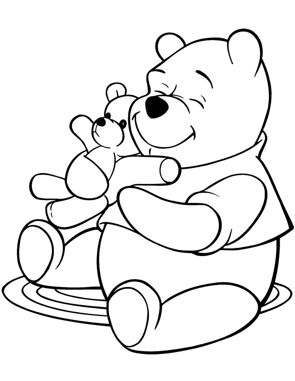 Winnie The Pooh And Doll Bear Coloring